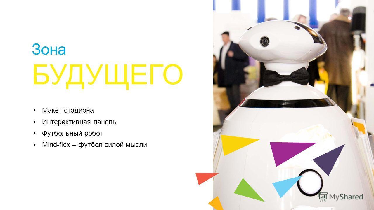 Зона БУДУЩЕГО Макет стадиона Интерактивная панель Футбольный робот Mind-flex – футбол силой мысли