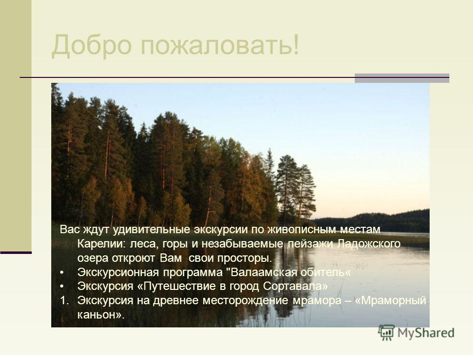 Добро пожаловать! Вас ждут удивительные экскурсии по живописным местам Карелии: леса, горы и незабываемые пейзажи Ладожского озера откроют Вам свои просторы. Экскурсионная программа