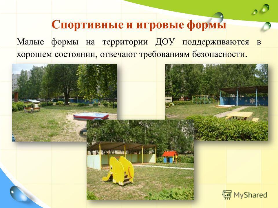 Спортивные и игровые формы Малые формы на территории ДОУ поддерживаются в хорошем состоянии, отвечают требованиям безопасности.