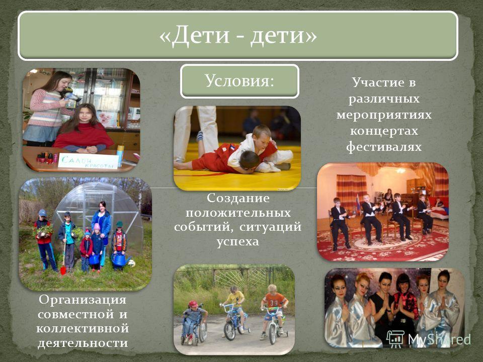 Участие в различных мероприятиях концертах фестивалях «Дети - дети» Условия: Организация совместной и коллективной деятельности Создание положительных событий, ситуаций успеха