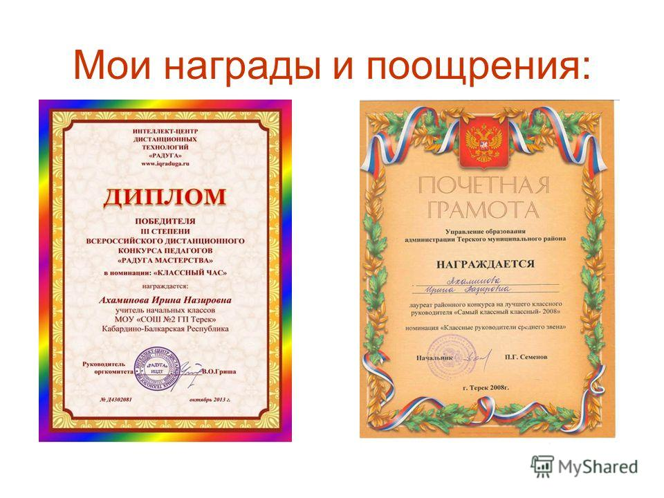Мои награды и поощрения: