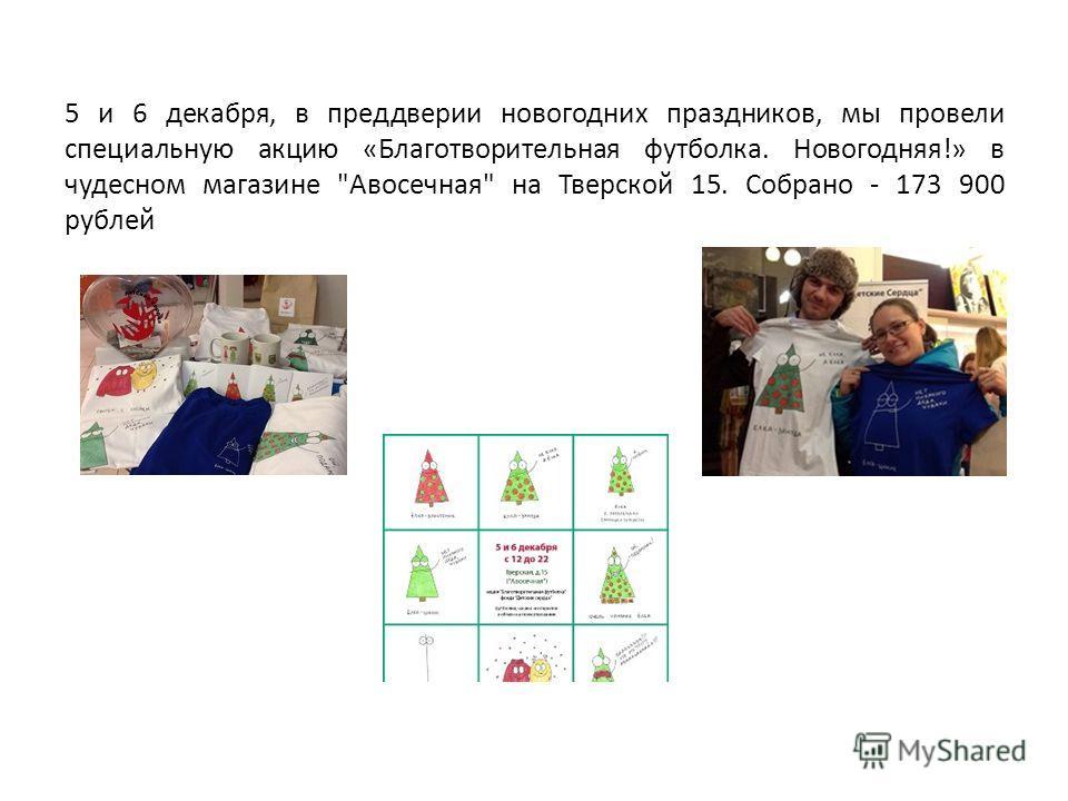 5 и 6 декабря, в преддверии новогодних праздников, мы провели специальную акцию «Благотворительная футболка. Новогодняя!» в чудесном магазине Авосечная на Тверской 15. Собрано - 173 900 рублей