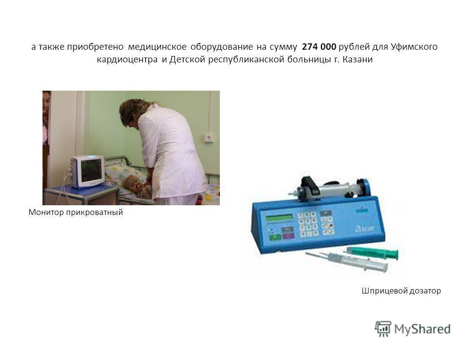 а также приобретено медицинское оборудование на сумму 274 000 рублей для Уфимского кардиоцентра и Детской республиканской больницы г. Казани Монитор прикроватный Шприцевой дозатор
