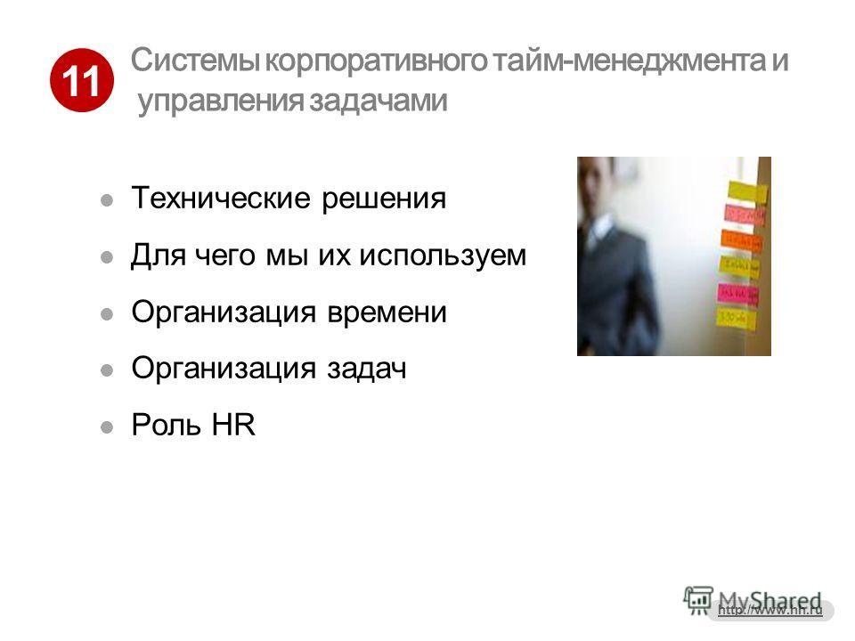 11 http://www.hh.ru Системы корпоративного тайм-менеджмента и управления задачами Технические решения Для чего мы их используем Организация времени Организация задач Роль HR