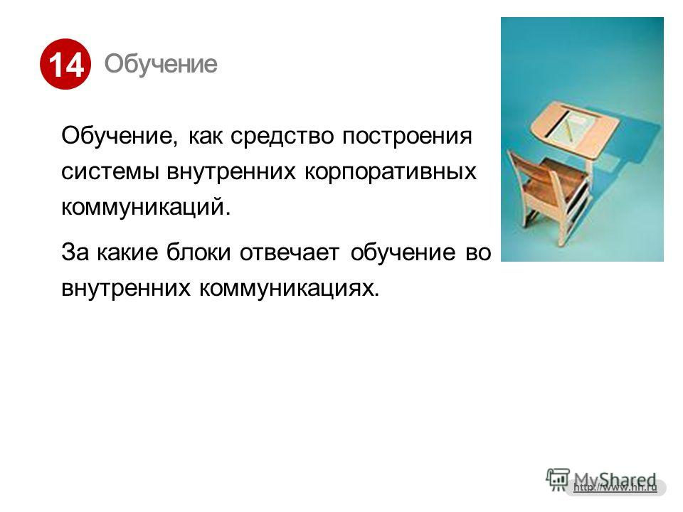 14 http://www.hh.ru Обучение Обучение, как средство построения системы внутренних корпоративных коммуникаций. За какие блоки отвечает обучение во внутренних коммуникациях.