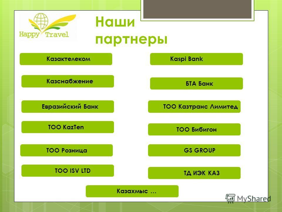 Наши партнеры Казактелеком Kaspi Bank Казснабжение БТА Банк Евразийский Банк ТОО Казтранс Лимитед ТОО Каz Теn ТОО Бибигон ТОО Розница GS GROUP TOO ISV LTD ТД ИЭК КАЗ Казахмыс …