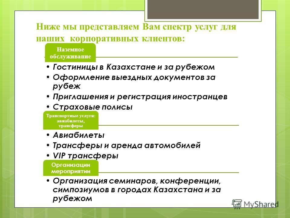 Ниже мы представляем Вам спектр услуг для наших корпоративных клиентов: Наземное обслуживание Гостиницы в Казахстане и за рубежом Оформление выездных документов за рубеж Приглашения и регистрация иностранцев Страховые полисы Транспортные услуги: авиа
