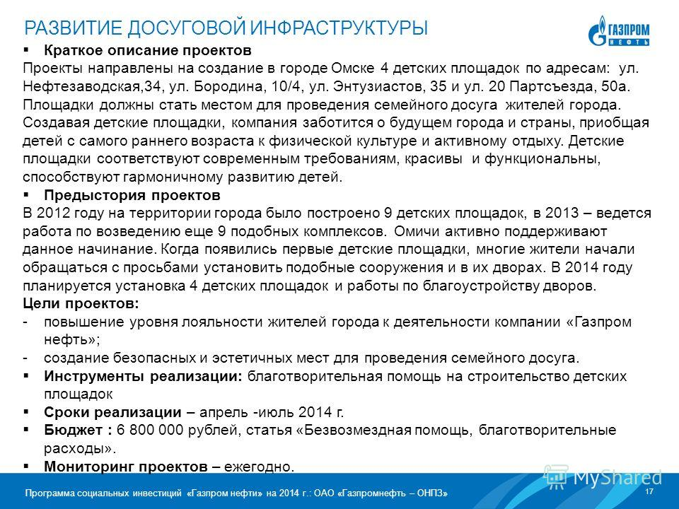 17 Программа социальных инвестиций «Газпром нефти» на 2014 г.: ОАО «Газпромнефть – ОНПЗ» Краткое описание проектов Проекты направлены на создание в городе Омске 4 детских площадок по адресам: ул. Нефтезаводская,34, ул. Бородина, 10/4, ул. Энтузиастов