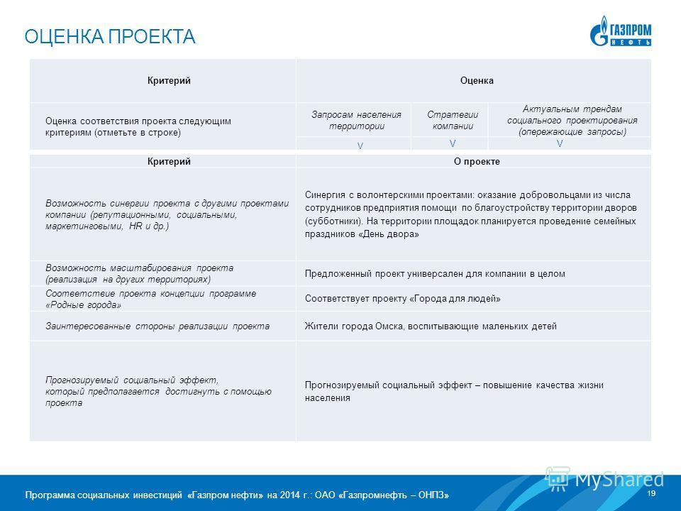 19 Программа социальных инвестиций «Газпром нефти» на 2014 г.: ОАО «Газпромнефть – ОНПЗ» ОЦЕНКА ПРОЕКТА Критерий Оценка Оценка соответствия проекта следующим критериям (отметьте в строке) Запросам населения территории Стратегии компании Актуальным тр