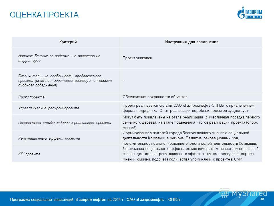 40 Программа социальных инвестиций «Газпром нефти» на 2014 г.: ОАО «Газпромнефть – ОНПЗ» ОЦЕНКА ПРОЕКТА Критерий Инструкция для заполнения Наличие близких по содержанию проектов на территории Проект уникален Отличительные особенности предлагаемого пр