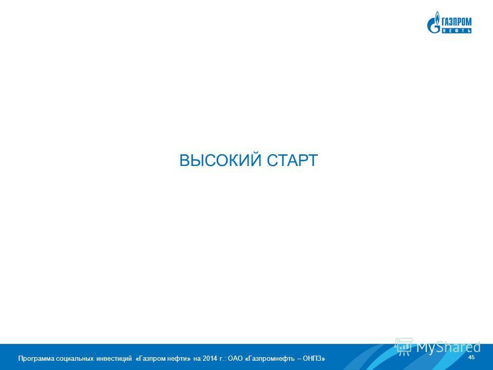 45 Программа социальных инвестиций «Газпром нефти» на 2014 г.: ОАО «Газпромнефть – ОНПЗ» ВЫСОКИЙ СТАРТ