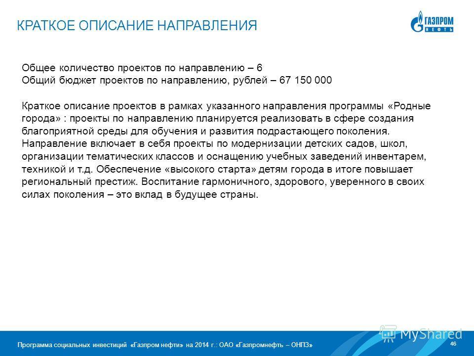 46 Программа социальных инвестиций «Газпром нефти» на 2014 г.: ОАО «Газпромнефть – ОНПЗ» Общее количество проектов по направлению – 6 Общий бюджет проектов по направлению, рублей – 67 150 000 Краткое описание проектов в рамках указанного направления