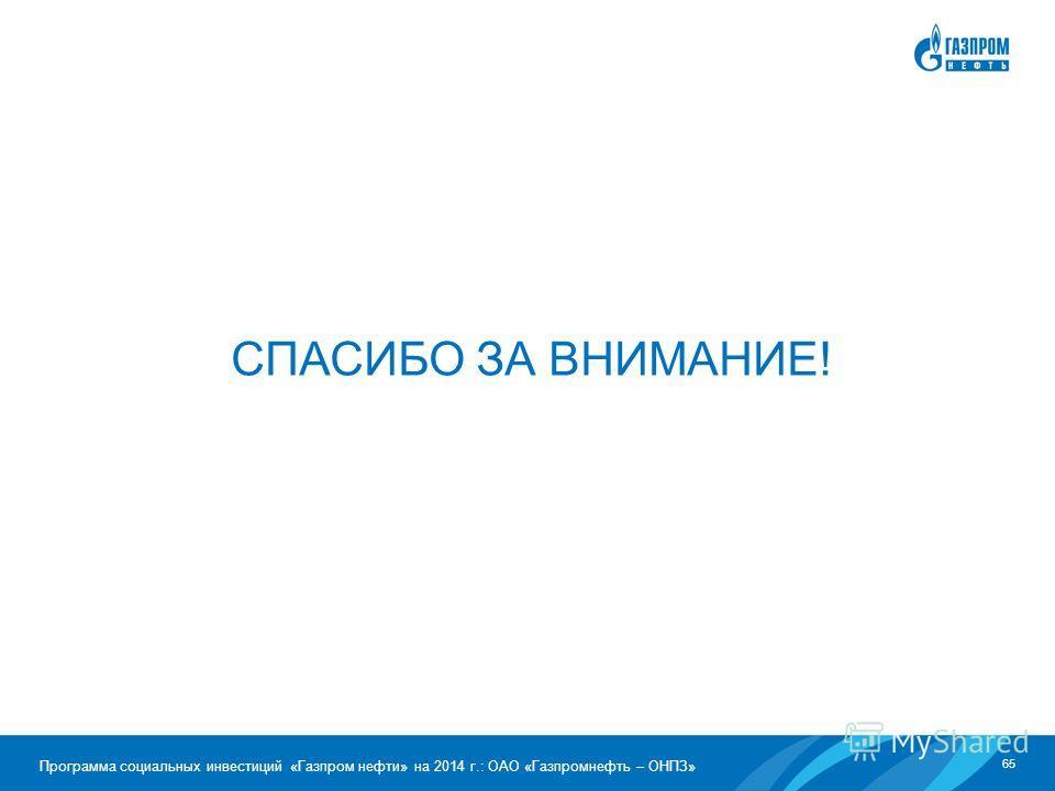 65 Программа социальных инвестиций «Газпром нефти» на 2014 г.: ОАО «Газпромнефть – ОНПЗ» СПАСИБО ЗА ВНИМАНИЕ!