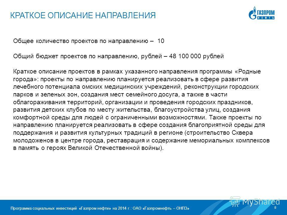 8 Программа социальных инвестиций «Газпром нефти» на 2014 г.: ОАО «Газпромнефть – ОНПЗ» Общее количество проектов по направлению – 10 Общий бюджет проектов по направлению, рублей – 48 100 000 рублей Краткое описание проектов в рамках указанного напра