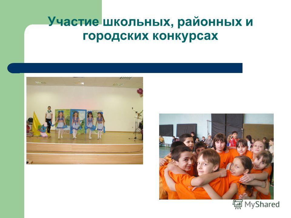 Участие школьных, районных и городских конкурсах