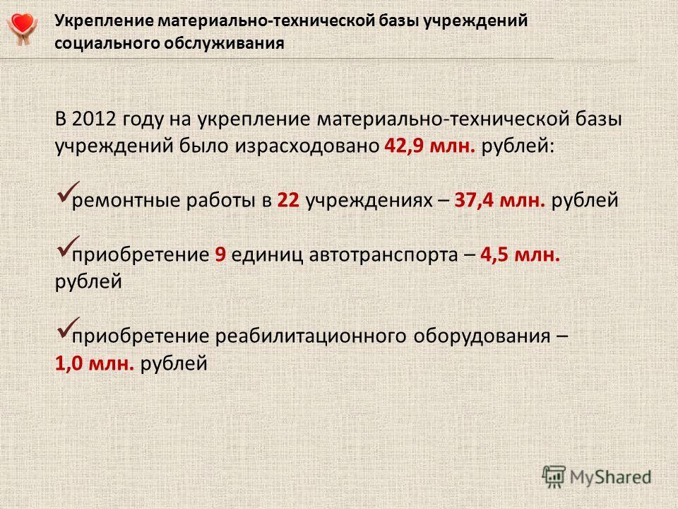 В 2012 году на укрепление материально-технической базы учреждений было израсходовано 42,9 млн. рублей: ремонтные работы в 22 учреждениях – 37,4 млн. рублей приобретение 9 единиц автотранспорта – 4,5 млн. рублей приобретение реабилитационного оборудов