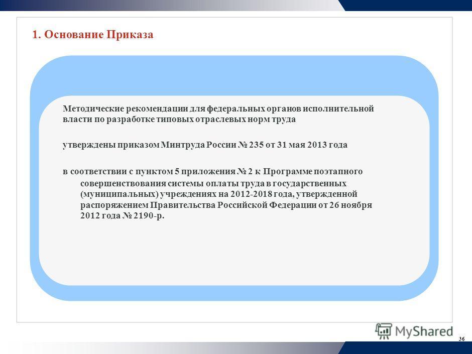 36 Методические рекомендации для федеральных органов исполнительной власти по разработке типовых отраслевых норм труда утверждены приказом Минтруда России 235 от 31 мая 2013 года в соответствии с пунктом 5 приложения 2 к Программе поэтапного совершен