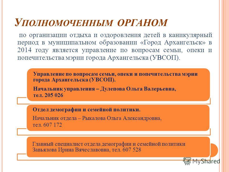 У ПОЛНОМОЧЕННЫМ ОРГАНОМ по организации отдыха и оздоровления детей в каникулярный период в муниципальном образовании «Город Архангельск» в 2014 году является управление по вопросам семьи, опеки и попечительства мэрии города Архангельска (УВСОП). Упра