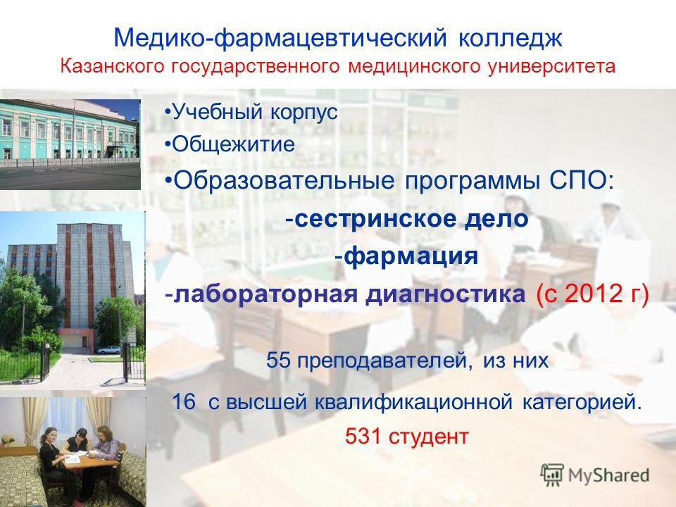 Медико-фармацевтический колледж Казанского государственного медицинского университета Учебный корпус Общежитие Образовательные программы СПО: -сестринское дело -фармация -лабораторная диагностика (с 2012 г) 55 преподавателей, из них 16 с высшей квали