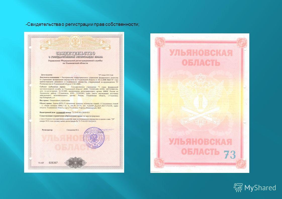 -Свидетельства о регистрации прав собственности;