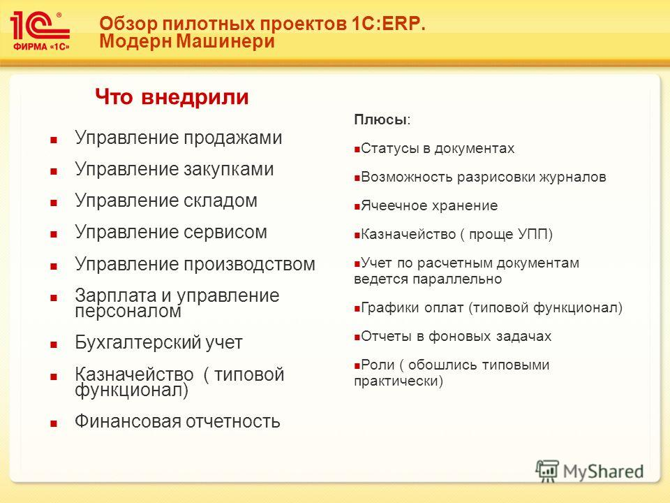 Обзор пилотных проектов 1С:ERP. Модерн Машинери Управление продажами Управление закупками Управление складом Управление сервисом Управление производством Зарплата и управление персоналом Бухгалтерский учет Казначейство ( типовой функционал) Финансова