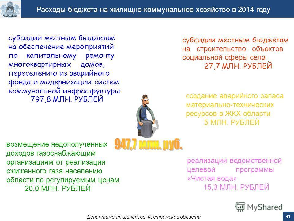 Департамент финансов Костромской области 41 Расходы бюджета на жилищно-коммунальное хозяйство в 2014 году субсидии местным бюджетам на обеспечение мероприятий по капитальному ремонту многоквартирных домов, переселению из аварийного фонда и модернизац