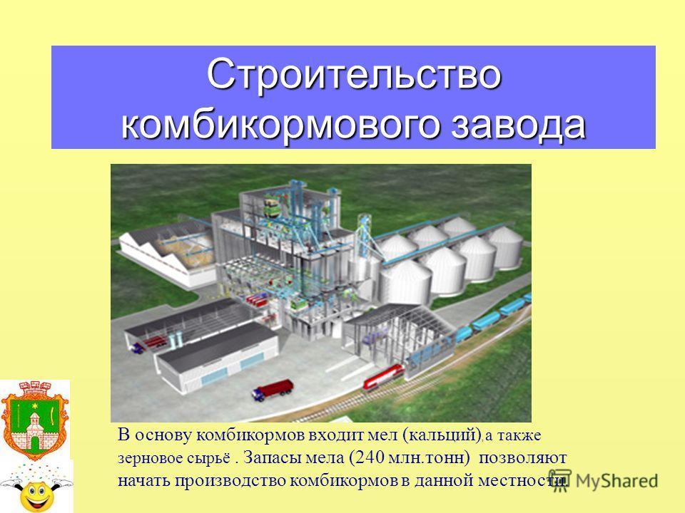 Строительство комбикормового завода В основу комбикормов входит мел (кальций), а также зерновое сырьё. Запасы мела (240 млн.тонн) позволяют начать производство комбикормов в данной местности.