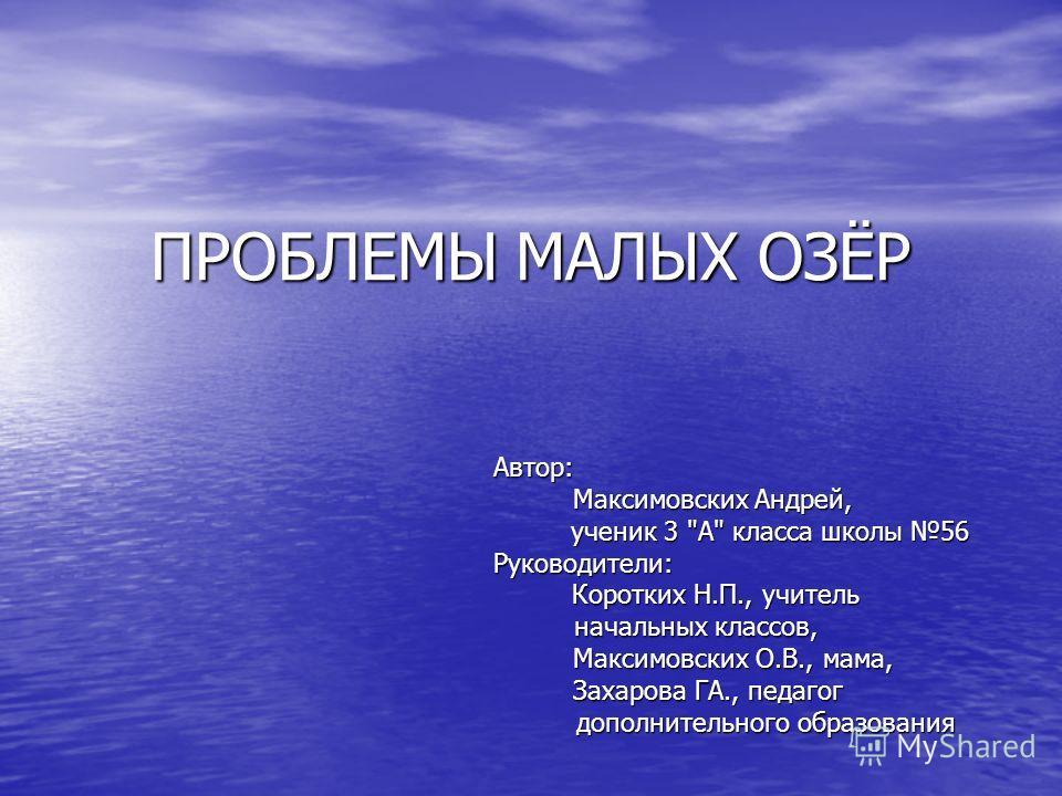 ПРОБЛЕМЫ МАЛЫХ ОЗЁР Автор: Автор: Максимовcких Андрей, Максимовcких Андрей, ученик 3