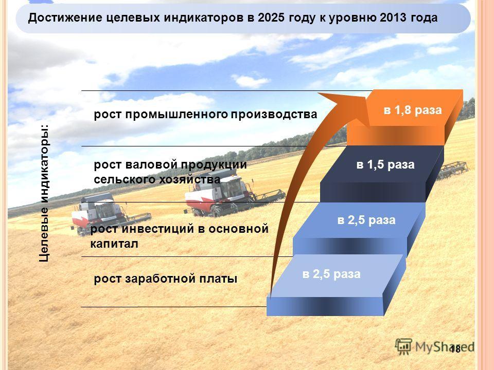 Достижение целевых индикаторов в 2025 году к уровню 2013 года 18 рост промышленного производства рост инвестиций в основной капитал рост валовой продукции сельского хозяйства Целевые индикаторы: в 1,8 раза в 2,5 раза в 1,5 раза рост заработной платы