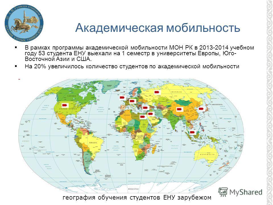 В рамках программы академической мобильности МОН РК в 2013-2014 учебном году 53 студента ЕНУ выехали на 1 семестр в университеты Европы, Юго- Восточной Азии и США. На 20% увеличилось количество студентов по академической мобильности Академическая моб