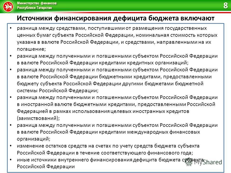 Министерство финансов Республики Татарстан Источники финансирования дефицита бюджета включают разница между средствами, поступившими от размещения государственных ценных бумаг субъекта Российской Федерации, номинальная стоимость которых указана в вал