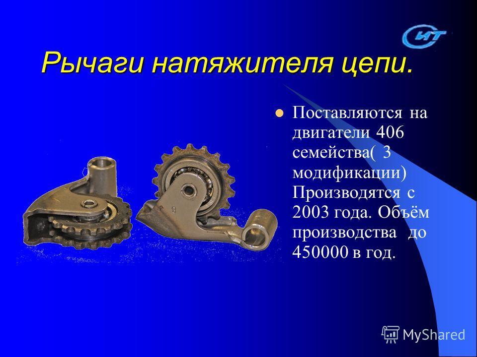 Рычаги натяжителя цепи. Поставляются на двигатели 406 семейства( 3 модификации) Производятся с 2003 года. Объём производства до 450000 в год.