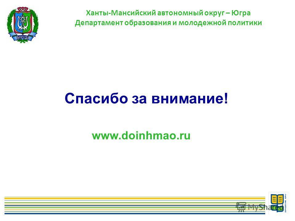 12 Спасибо за внимание! www.doinhmao.ru Ханты-Мансийский автономный округ – Югра Департамент образования и молодежной политики
