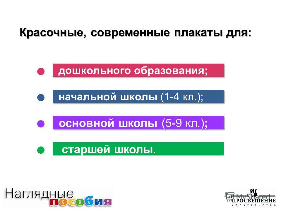 дошкольного образования; начальной школы (1-4 кл.); основной школы (5-9 кл.); старшей школы. Красочные, современные плакаты для: