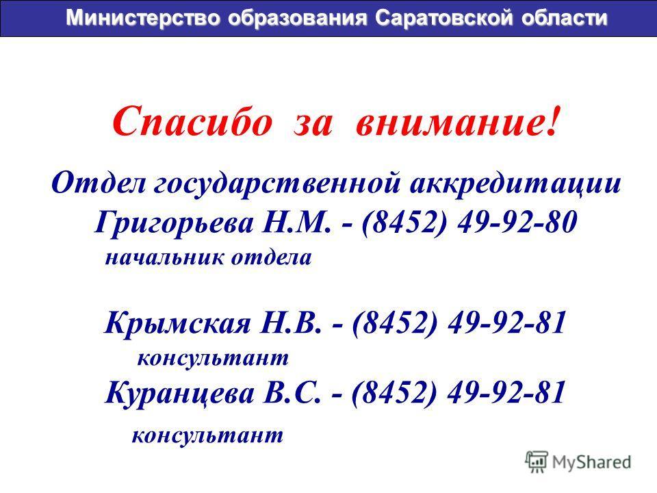 Спасибо за внимание! Отдел государственной аккредитации Григорьева Н.М. - (8452) 49-92-80 начальник отдела Крымская Н.В. - (8452) 49-92-81 консультант Куранцева В.С. - (8452) 49-92-81 консультант Министерство образования Саратовской области