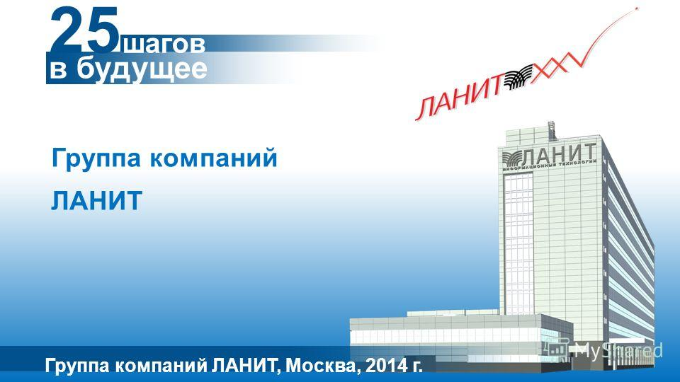 Группа компаний ЛАНИТ Группа компаний ЛАНИТ, Москва, 2014 г. 25 шагов в будущее