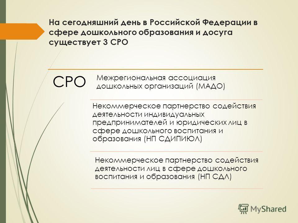 На сегодняшний день в Российской Федерации в сфере дошкольного образования и досуга существует 3 СРО СРО Межрегиональная ассоциация дошкольных организаций (МАДО) Некоммерческое партнерство содействия деятельности индивидуальных предпринимателей и юри