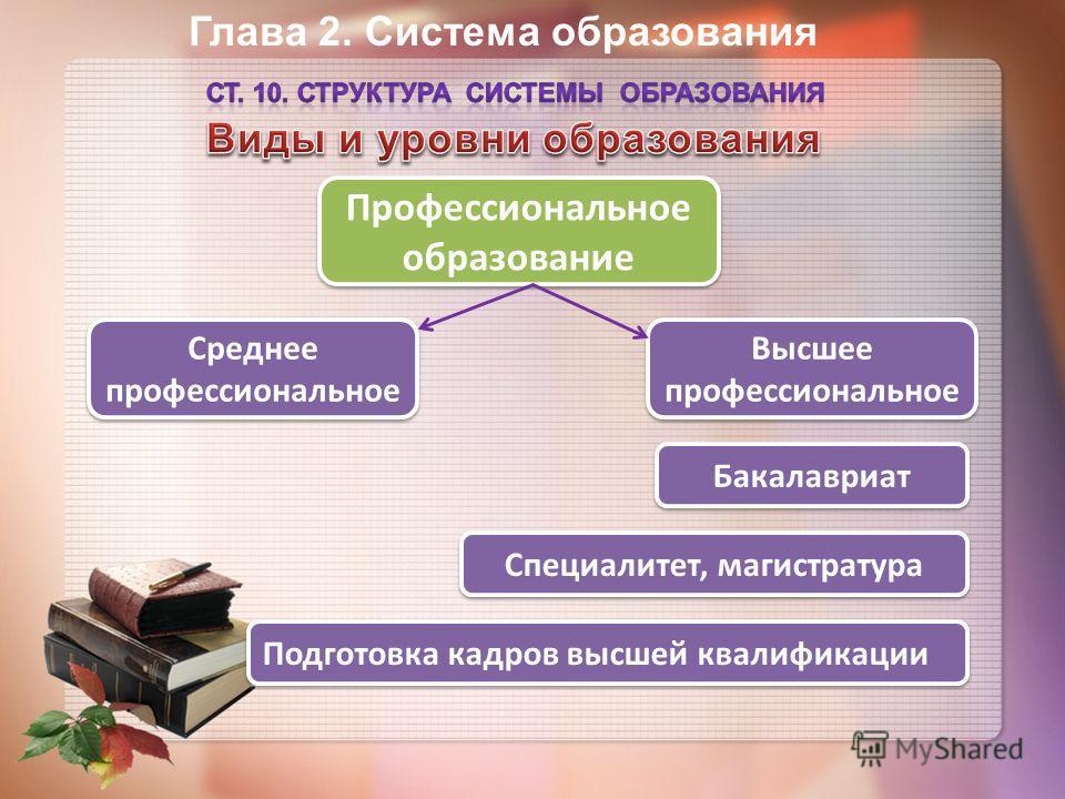 Глава 2. Система образования Профессиональное образование Среднее профессиональное Бакалавриат Специалитет, магистратура Высшее профессиональное Подготовка кадров высшей квалификации