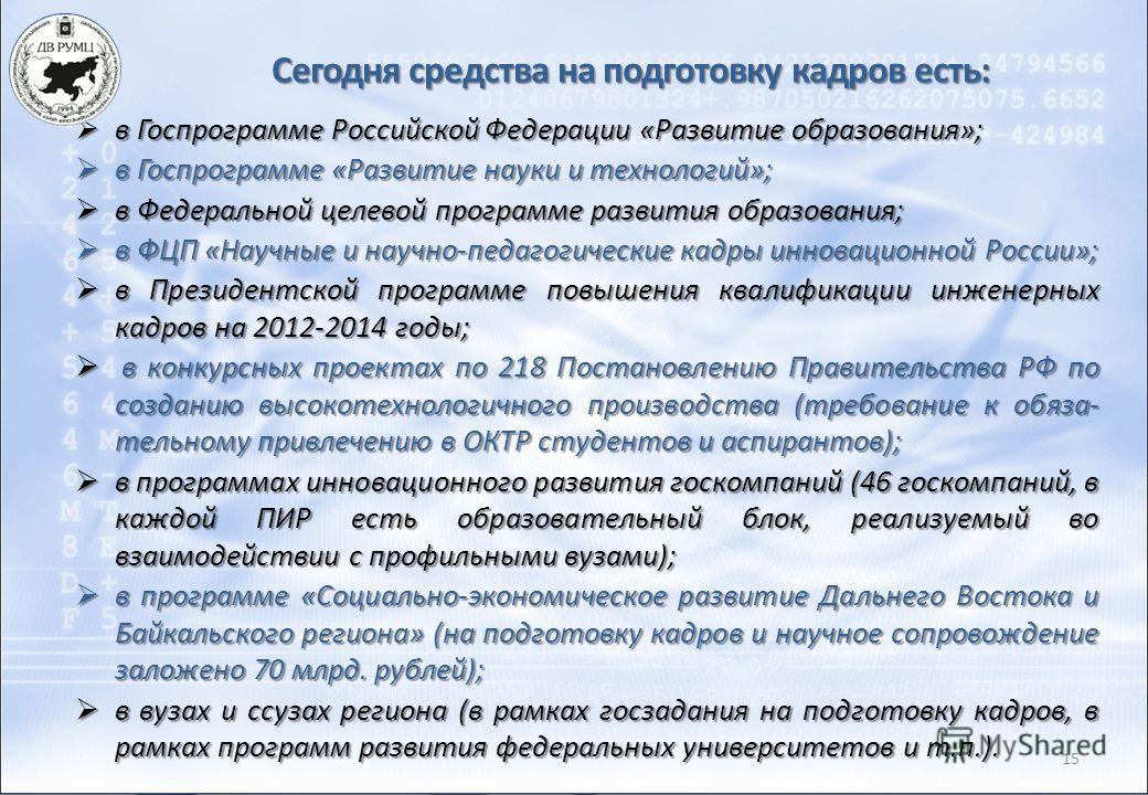 15 в Госпрограмме Российской Федерации «Развитие образования»; в Госпрограмме Российской Федерации «Развитие образования»; в Госпрограмме «Развитие науки и технологий»; в Госпрограмме «Развитие науки и технологий»; в Федеральной целевой программе раз