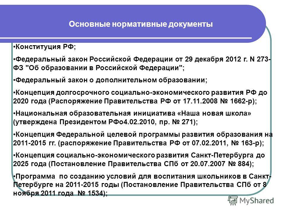 Конституция РФ; Федеральный закон Российской Федерации от 29 декабря 2012 г. N 273- ФЗ