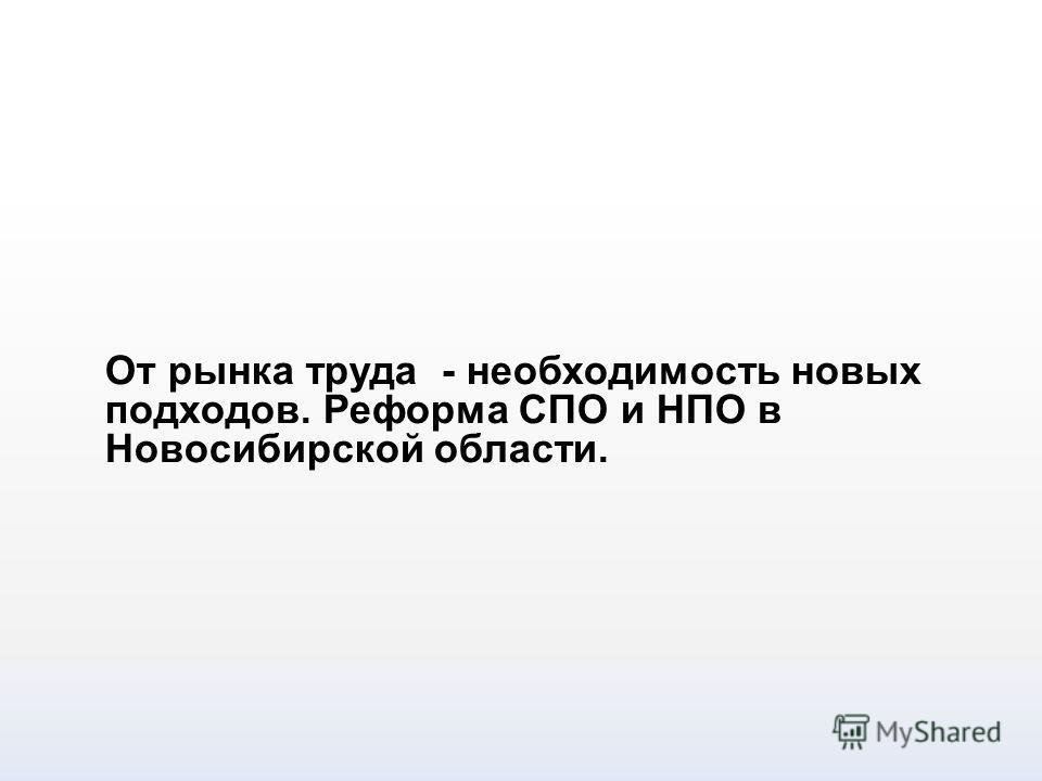 От рынка труда - необходимость новых подходов. Реформа СПО и НПО в Новосибирской области.