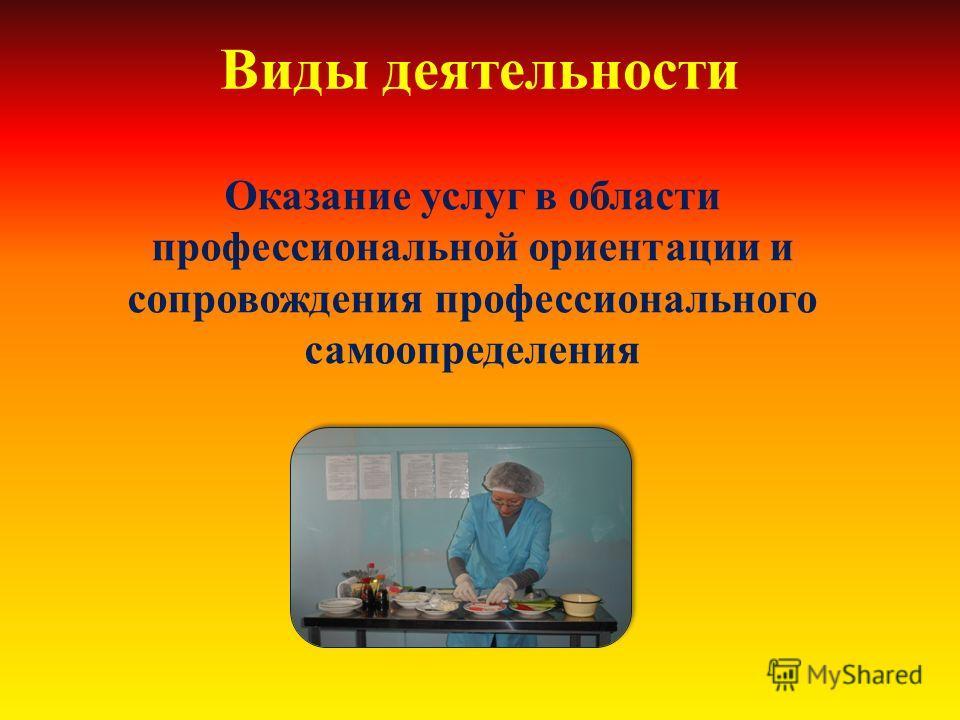 Виды деятельности Оказание услуг в области профессиональной ориентации и сопровождения профессионального самоопределения
