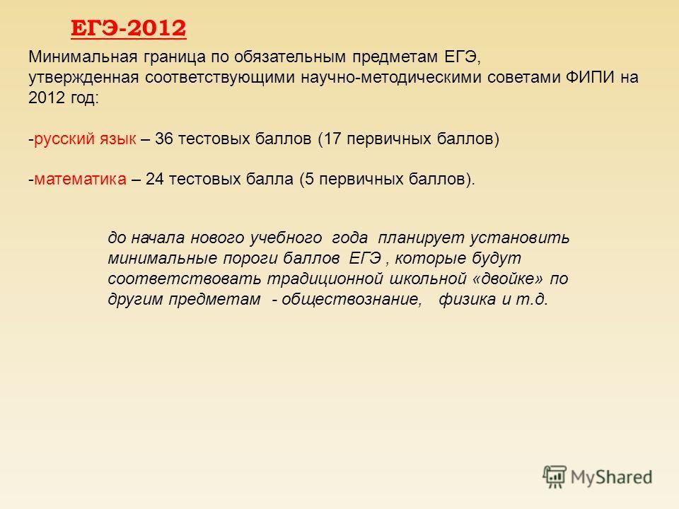 ЕГЭ-2012 Минимальная граница по обязательным предметам ЕГЭ, утвержденная соответствующими научно-методическими советами ФИПИ на 2012 год: -русский язык – 36 тестовых баллов (17 первичных баллов) -математика – 24 тестовых балла (5 первичных баллов). д