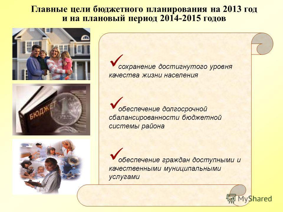 Главные цели бюджетного планирования на 2013 год и на плановый период 2014-2015 годов сохранение достигнутого уровня качества жизни населения обеспечение долгосрочной сбалансированности бюджетной системы района обеспечение граждан доступными и качест