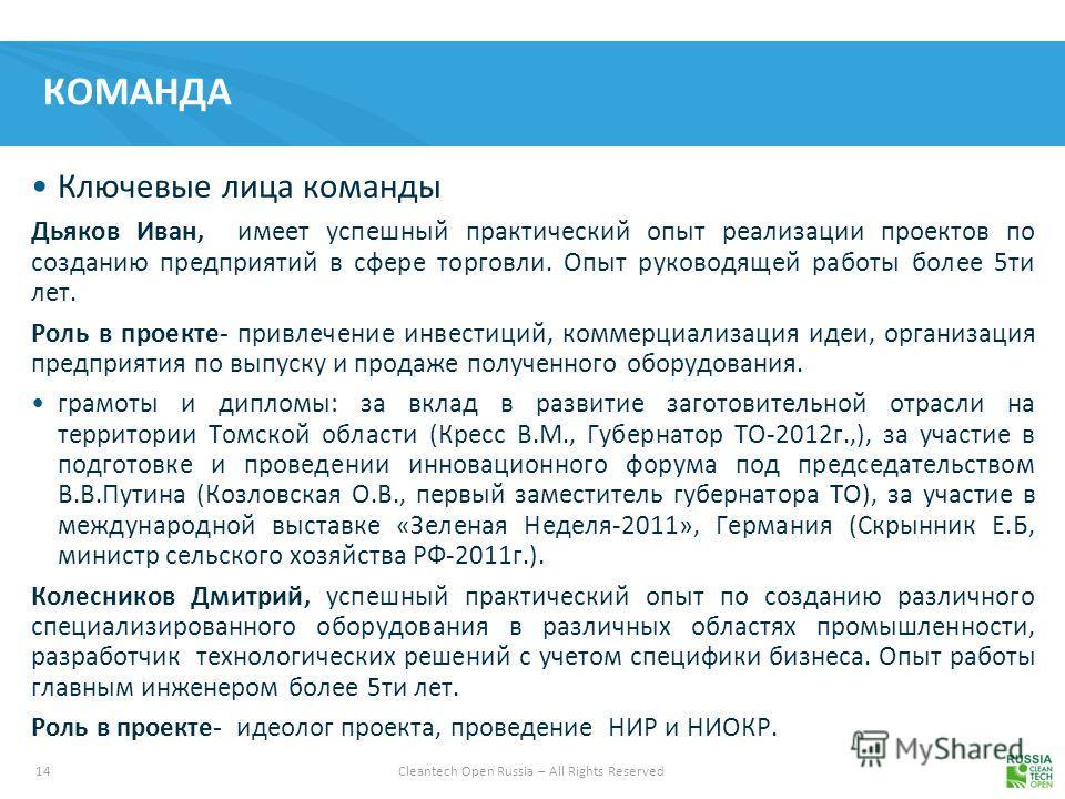 14 Cleantech Open Russia – All Rights Reserved КОМАНДА Ключевые лица команды Дьяков Иван, имеет успешный практический опыт реализации проектов по созданию предприятий в сфере торговли. Опыт руководящей работы более 5 ти лет. Роль в проекте- привлечен