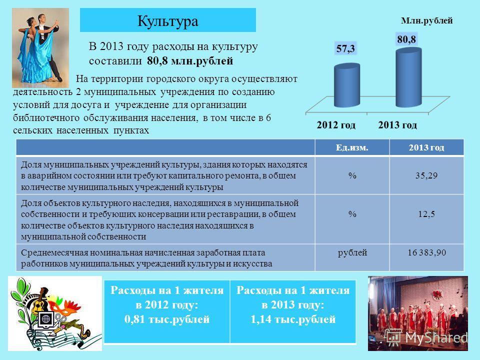 31 Культура В 2013 году расходы на культуру составили 80,8 млн.рублей На территории городского округа осуществляют деятельность 2 муниципальных учреждения по созданию условий для досуга и учреждение для организации библиотечного обслуживания населени