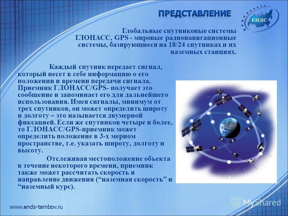 Каждый спутник передает сигнал, который несет в себе информацию о его положении и времени передачи сигнала. Приемник ГЛОНАСС/GPS- получает это сообщение и запоминает его для дальнейшего использования. Имея сигналы, минимум от трех спутников, он может