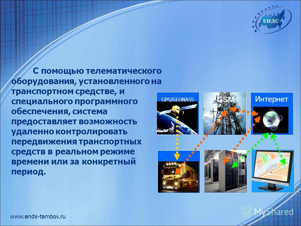 www.ends-tambov.ru С помощью телематического оборудования, установленного на транспортном средстве, и специального программного обеспечения, система предоставляет возможность удаленно контролировать передвижения транспортных средств в реальном режиме
