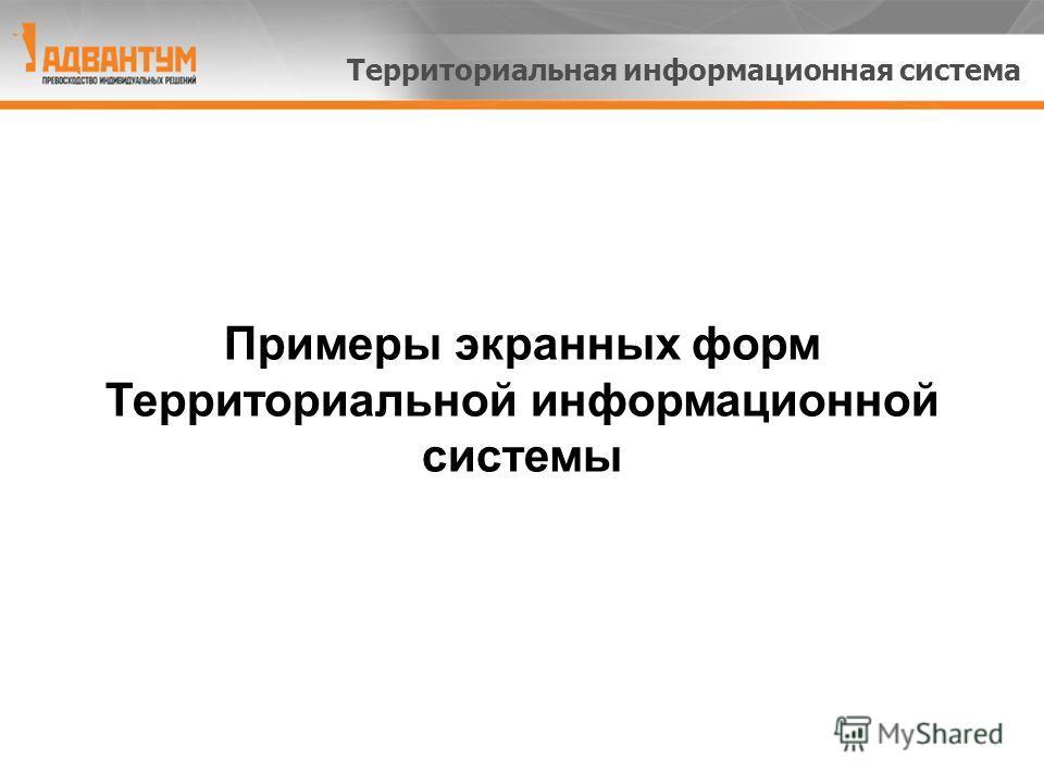Примеры экранных форм Территориальной информационной системы Территориальная информационная система