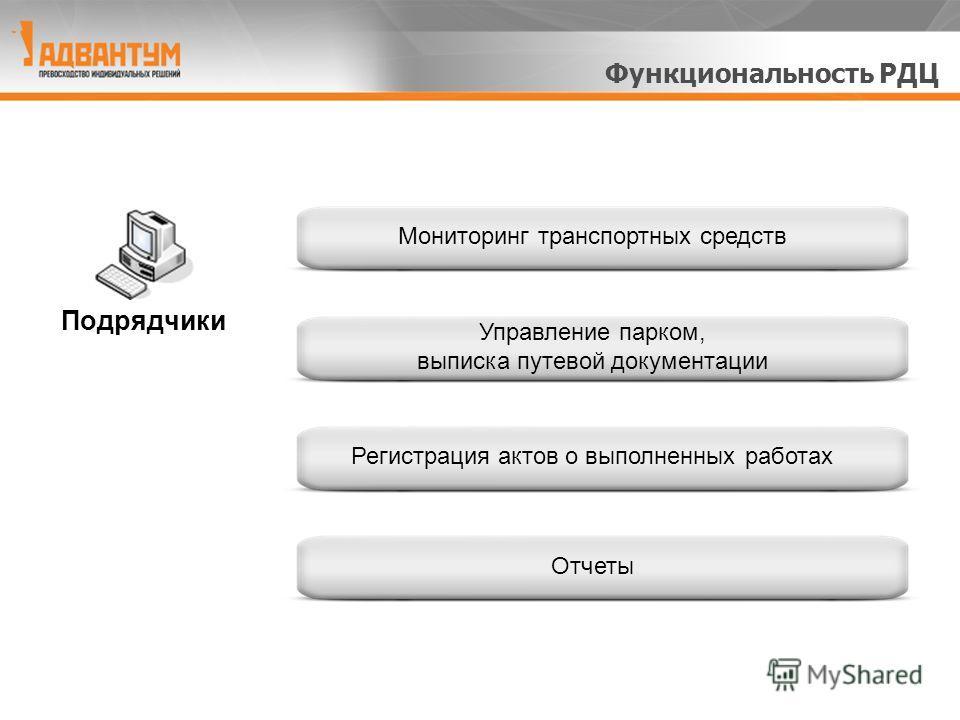 Мониторинг транспортных средств Управление парком, выписка путевой документации Регистрация актов о выполненных работах Отчеты Подрядчики